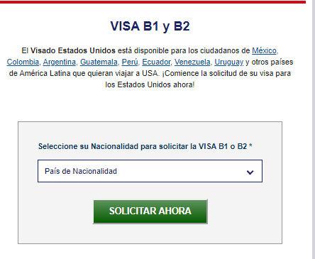 Solicitud de Visa B1 y B2