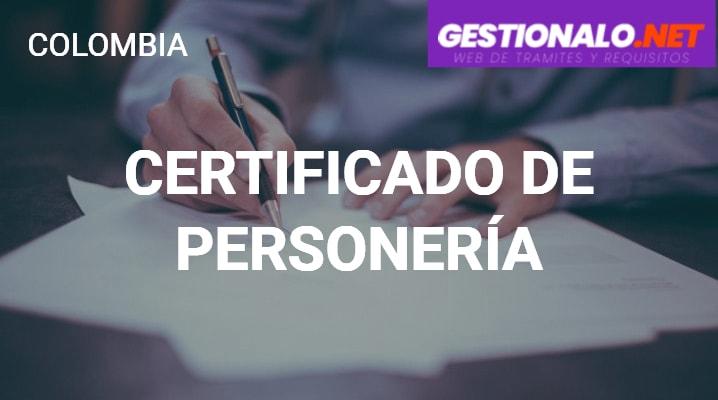 Certificado de la Personería