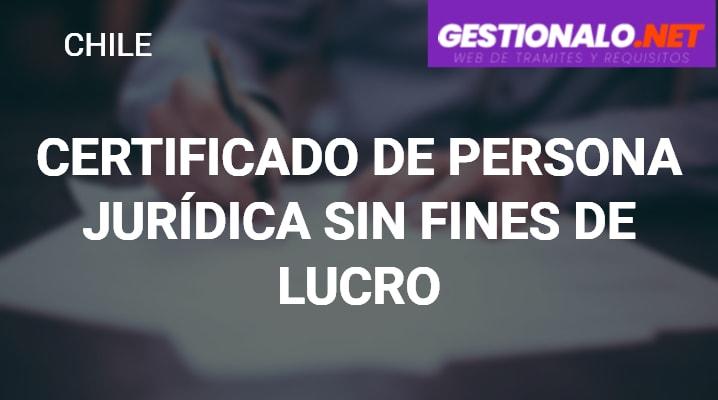 Certificado de Persona Jurídica sin Fines de Lucro