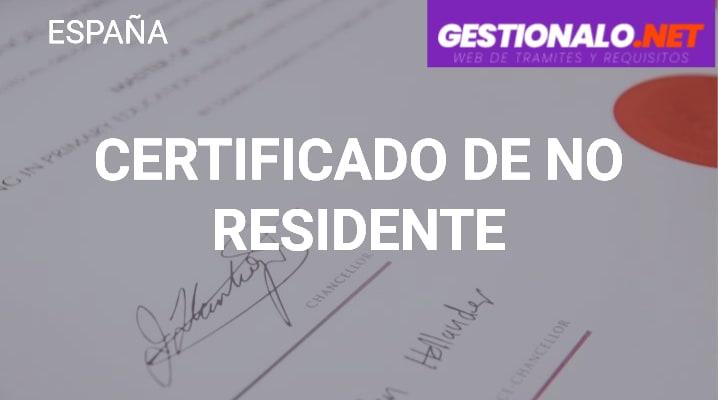 Certificado de No Residente