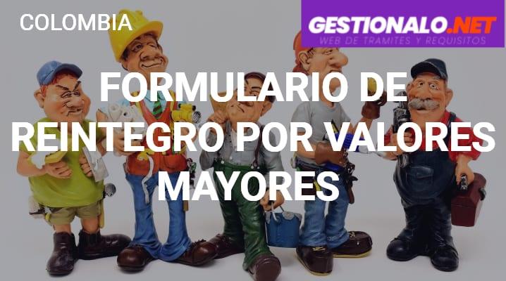Formulario de Reintegro por Valores Mayores