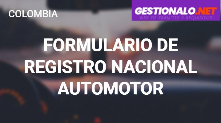 Formulario del Registro Nacional Automotor
