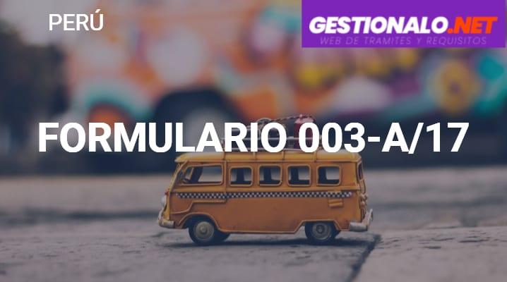 Formulario 003-A/17
