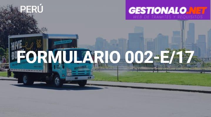 Formulario 002-E/17