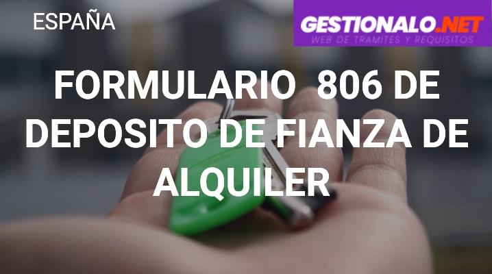 Formulario 806 de Depósito de Fianza de Alquiler